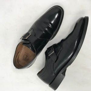 Clarks Blk Leather Monk Strap Loafers Handcrafted